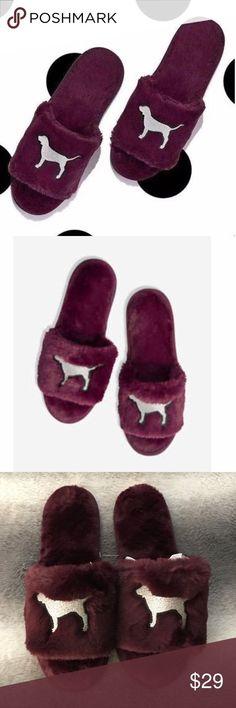 2604878e6563 VS PINK Burgundy Fuzzy Slide Slippers Super cute and comfy plush slip on slide  slippers