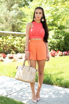 Top| High neck| Crewneck| Sleeveless| Arm| Crop| Belly| Pink| Peach| Salmon| Shorts| Orange| Coral| Short| Leg| Shoes| Heels| Pumps| Nude| Close toed| Purse| Handbag| Tote| Bracelet| Bangle| Earrings| Statement| Dangly| Dangle| Open toed| Nail| Summer| Spring| P507