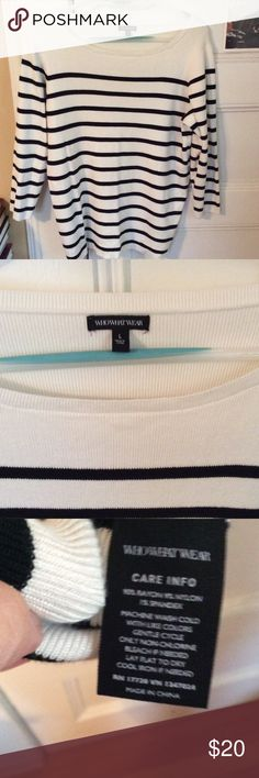 """Target Who What Wear striped sweater size L EUC Target brand Who What Wear ivory sweater with black stripes, boat neck, 3/4 sleeves. Size L. Has some weight to it. Worn once. 25"""" long, 20"""" across bust. Who What Wear for Target Sweaters Crew & Scoop Necks"""