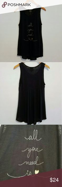 """All You Need Is 💛 Love Black Tank Top - W5 - NWT Black Tank top by W5. Brand new with tags. Embroidered with """"All You Need is 💛""""   Size Small.  Measures approximately: 27"""" L from top of strap to bottom 21.5"""" L from middle of front neckline to bottom 17"""" across from underarm to underarm W5 Tops Tank Tops"""