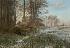 """""""Chilly Morning"""" (1900) by Michał Gorstkin Wywiórski (Polish,1861 - 1926), oil, canvas, 73.5 x 103 cm. Agra-Art"""