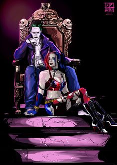 Joker and Harley Quinn Wallpaper <br> Harley Quinn Tattoo, Joker Und Harley Quinn, Harley And Joker Love, Der Joker, Harley Quinn Drawing, Joker Art, Joker Images, Joker Pics, Batman Art