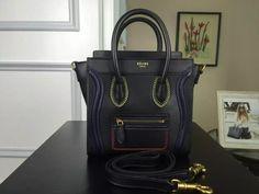 Authentic Quality 1:1 Mirror Replica Celine Multi Color Double Stitching Nano Luggage Bag Black 177923ADG.38NO