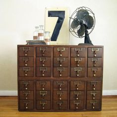 30 Drawer Vintage Library Card Catalog Cabinet