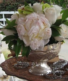 Penonies and roses...simple and elegant in silver.
