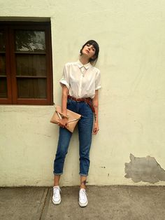 Get this look: http://lb.nu/look/6952462 More looks by Paz Halabi Rodriguez: http://lb.nu/pazhalabirodriguez Items in this look: H&M Blouse, Topshop Mom Jeans, Converse White, Bimba&Lola Clutch