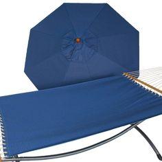 Phat Tommy Sunbrella Sling Hammock with 9 ft. Marenti Wood Market Umbrella - 330/350-COMBO.BIRDSEYE