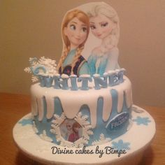 Disney's frozen birthday cake. It's got elsa and Anna wafer card as a topper. Enjoyed working on this cake