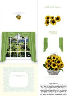 Sunflowers In A Basket In the Window 3D Decoupage Easel Card on Craftsuprint - Add To Basket!