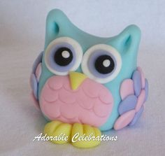 Olivia Owl Fondant Cake Topper by AdorableCelebrations on Etsy, $12.00