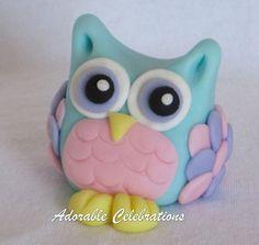 Olivia Owl Fondant Cake Topper by AdorableCelebrations on Etsy, $12.00