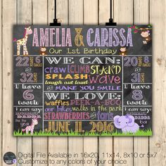 Girl Twins Jungle Birthday Poster, Girl Twins Safari Birthday Chalkboard Poster, Jungle Birthday, Girl Multiples Poster Stats Sign, DIGITAL by SquishyDesignsbyMe on Etsy