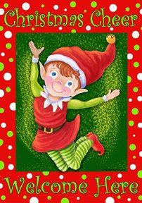 Christmas Elf  28 Inch X 40 Inch Large Decorative Flag  Christmas Cheer Welcome Here -- This is an Amazon Affiliate link. Continue to the product at the image link.