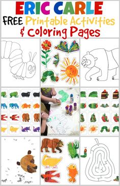 FREE Eric Carle book printable activities and coloring pages! FREE Eric Carle book printable activities and coloring pages! Eric Carle, Preschool Learning, In Kindergarten, Teaching Art, Teaching Tools, Learning Activities, Preschool Activities, Preschool Books, Montessori Books