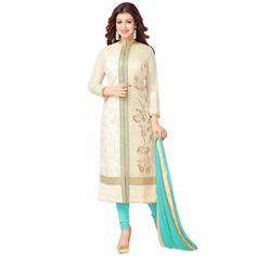 Prayosha Enterprise Ayesha Takia Embroidered Semi-Stitched Salwar Suit In Turquoise And Cream Color