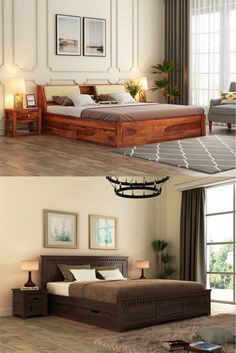 Wooden king size beds are no less than a throne of comfort which every person loves to reach after a long day. Its enormous size and additional features have always made it the most loved furniture unit in the house. Wooden Street has come ahead with instigating a wide range of solid wood king size beds online available with premium quality, stunning designs and lots of serviceability added. With this, so many options for traditional, modern, contemporary beds, Bedroom Furniture Online, Bedroom Furniture Design, Bar Furniture, Wooden Furniture, Buy King Size Bed, Wooden King Size Bed, Wooden Bedroom, Beds Online, Bed Storage
