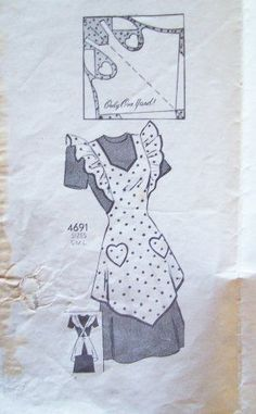 Vintage Anne Adams 4691 mail order apron pattern in size medium This adorable full bib apron pattern features shaped hemline, shaped neckli Apron Pattern Free, Vintage Apron Pattern, Retro Apron, Aprons Vintage, Vintage Sewing Patterns, Apron Patterns, Sewing Crafts, Sewing Projects, Bib Apron