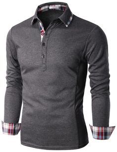 Doublju Mens Check Trimmed Long Sleeve Jersey Polo T-shirt (KMTTL0146) . SCORPARIA ♥