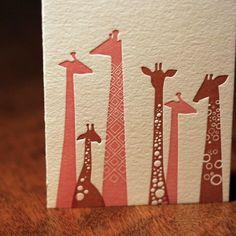letterpress giraffe card. by ThePaperNut on Etsy