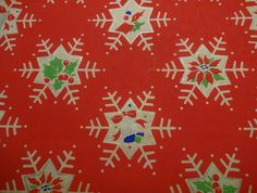 Vintage 1950's Christmas Wrapping Paper,Snowflakes on Red, NOS | eBay