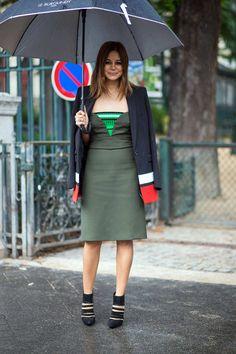Christine in high fashion duds including a sporty Prada dress and color blocked Givenchy blazer. Paris #ChristineCenterna