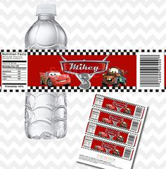 Disney Cars Water Bottle Labels, Custom Birthday, Printable Sticker on Etsy, $4.50