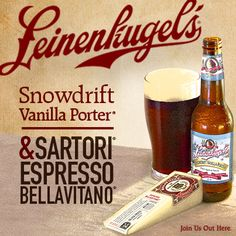 Beer and wine pairing: Leinenkugel's Snowdrift Vanilla Porter and Sartori Espresso BellaVitano