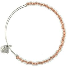 Alex and Ani Shimmering Sea Bead Expandable Wire Bangle Sand Shiny Silver