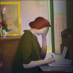 Julie écrivant, d'après Ernest ROUARD 1910, by Christian BOYET