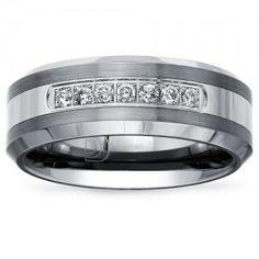 Carbide Diamond Mens Tungsten Wedding Rings