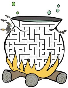 Witch's cauldron shaped maze from PrintActivities.com