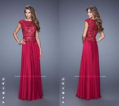 ff50680a7ef5 La Femme 20778   Long Dress ~ Lace Bodice ~ Cap sleeves ~ Evening  Collection ~