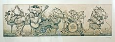 """""""The Kool Cats"""" Etching Signed Bradley Rockabilly Jazz Humorous Framed"""