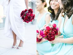 Deep red and burgundy bouquets | Four Seasons San Francisco wedding