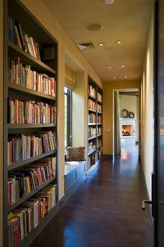 Hallway library with window seat.