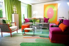 Living room with green orange and purple color theme is split complement. This page is showing conte Contemporary living room by Eileen Kathryn Boyd in , New York. Colorful & playful living room design with grey, bright emerald & fushia Retro Home Decor, Room Design, Colorful Interiors, Interior, Colorful Living Room Design, Contemporary Living Room, Colourful Living Room, Room Colors, Interior Design