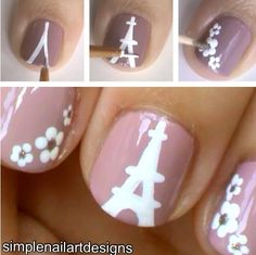 How to: Girly Floral Nail Art Design and Eiffel Tower Paris manicure