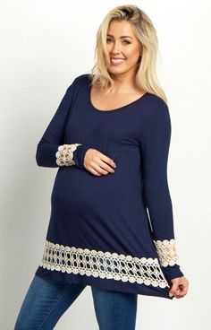 Clean out your winter wardrobe and stock up on these transitional long sleeve maternity tops. Featuring a pretty open crochet accent, this long sleeve will beautifully show off your bump from morning until night. Style this top with your favorite jeans and flats for a casual ensemble.