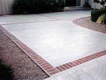 Brick, Border Concrete Driveways Concrete Solutions San Diego, CA - Modern Stamped Concrete Driveway, Concrete Bricks, Cement Patio, Concrete Driveways, Walkways, Driveway Edging, Brick Driveway, Driveway Ideas, Brick Border