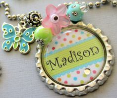 Butterfly Personalized  NAME bottle cap necklace  by buttonit, $15.50