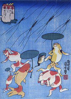 Japanese Woodblock Print by Kuniyoshi UTAGAWA. Funny fish with ubrellas. Japanese Drawings, Japanese Painting, Japanese Prints, Japanese Goldfish, Japanese Animals, Koi, Graphic Design Illustration, Illustration Art, Poster