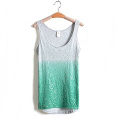 Candy Color Sequined Stretchy Asym Tank Top Vest