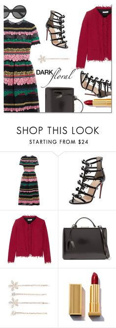 """""""In Bloom: Dark Florals"""" by danielle-487 ❤ liked on Polyvore featuring Valentino, Christian Louboutin, IRO, Mark Cross, Cara, Yves Saint Laurent and darkflorals"""