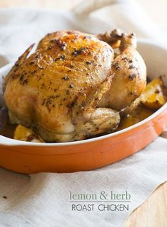 Classic and quick lemon herb roast chicken recipe thats a baked whole chicken in the oven. This lemon herb roasted chicken is so wonderful!!