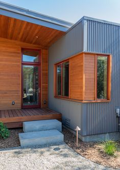 Exterior Metal Siding Material Flat RoofLine House Building Type Shed RoofLine and Wood Siding Material Photo 7 of 10 in Accessory Dwelling Unit by Daniel J. Exterior House Siding, Exterior Cladding, House Cladding, Facade House, Modern Exterior, Exterior Design, Interior Modern, Modern Small House Design, Metal Siding