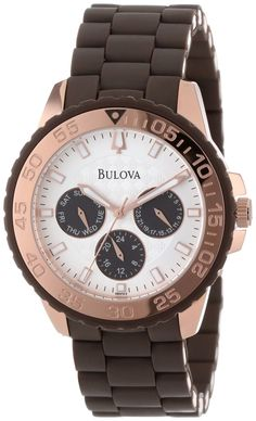 #Bulova #Watch , Bulova Women's 98N103 Brown Rubber Wrapped Stainless-Steel Bracelet Watch