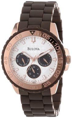 #Bulova #Watch , Bulova Women's 98N103 Brown Rubber Wrapped Stainless-Steel Bracelet Watch...$219.00
