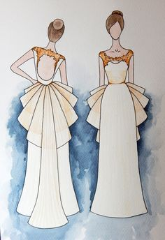 bridal sketch. watercolor