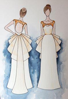 bridal sketch. watercolor