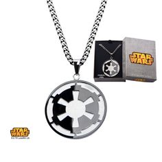 """Stainless Steel Star Wars Galactic Empire and Death Star Etched Pendant with 22"""" Chain. #jewelry #disney #starwars #imperial #deathstar #darkside"""